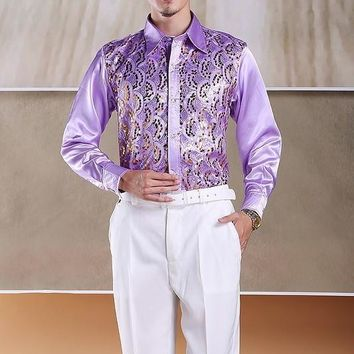 PYJTRL Men's Fashion Stage Show Purple Silver Piece Pink Yellow And Blue Shiny Sequins Slim Shirt For Men
