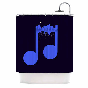"Digital Carbine ""Night Music"" Blue Illustration Shower Curtain"