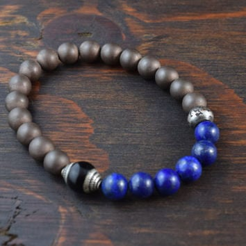 Men's Beaded Bracelet. Hematite and Lapis Lazuli Bracelet. Tibetan Bracelet. Men's Fashion Bracelet. Yoga Bracelet. Lotus & Lava Bracelet.
