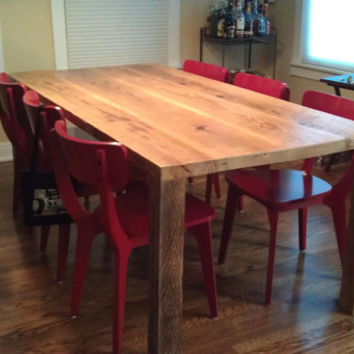 "Modern solid reclaimed wood table. We make tables in any size. 72"" l x 34"" w x 30""  tall"
