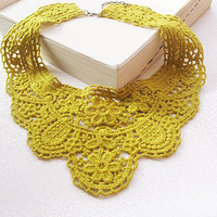 mustard yellow lace collar necklace-romantic  lace collar- fashion collar necklace