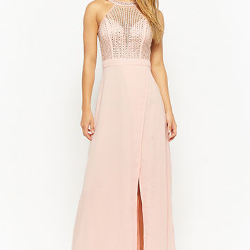 Beaded High-Neck Gown