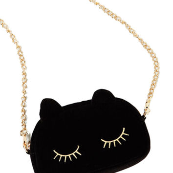Black Cat Eyelash Embroidery Chain Body Bag