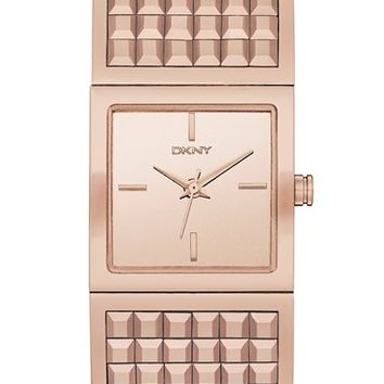 Women's DKNY 'Bryant Park' Square Crystal Bangle Watch, 21mm - Rose Gold