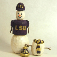 Hand Carved Wood Stackable Snowman