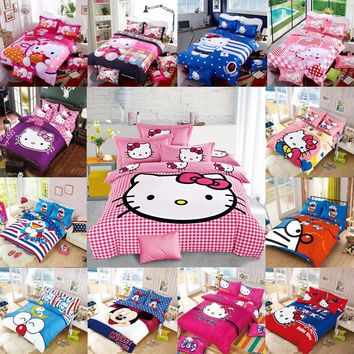 New Bedding Cartoon Hello Kitty Mickey Mouse 4pcs 3pcs Duvet Cover Sets Soft Polyester Bed Linen Flat Bed Sheet Set Pillowcase