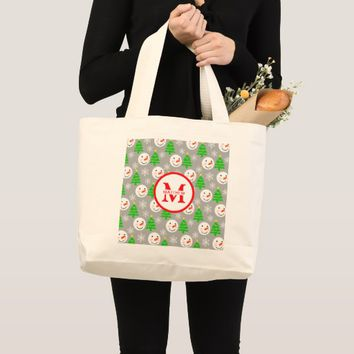 Christmas Festive Pattern Personalized Monogram Large Tote Bag