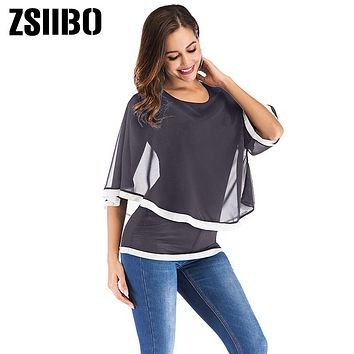 Large size Blouse Clothing Patchwork Irregular Women Shirt Casual Double layer Sexy Batwing O Neck Plus Size Woman Clothes