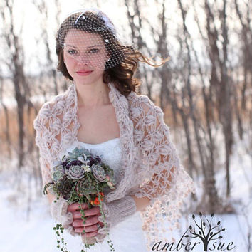 Shawl Shrug - Bridal Shrug Shawl - Wedding Shawl - Beige Shawl - Winter - Summer Wedding Bridal Accessories - Crochet Shawl