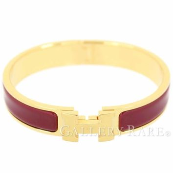 HERMES Clic H GM Bordeaux Enamel France Bracelet Bangle New Authentic 4593294