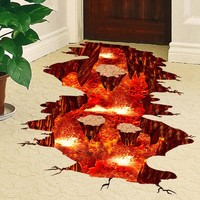3D Volcanic Magma Kids Rooms Decor Poster DIY Bathroom Creative Floor Sticker