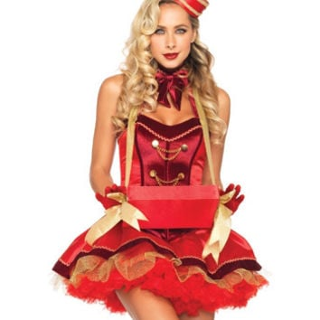 Leg Avenue Halloween Costumes 5 PC. Red Satin Vintage Cigarette Girl Costume 85022