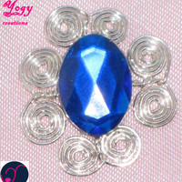 Blue diamante crystal silver coil brooch pendant necklace jewelry gift