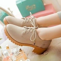 Buy CITTA Block Heel Lace-up Shoes | YesStyle