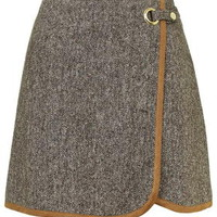 Tweed Wrap Front Pelmet Skirt - Brown