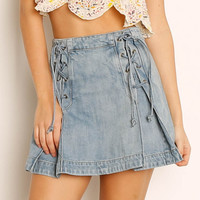 Free People Lace Up Denim Skirt