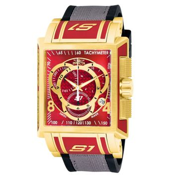 Invicta 11693 Men's S1 Touring Red Dial Gold Tone Steel Rubber & Nylon Strap Chronograph Watch