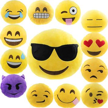Super Deal Hot Sale Soft Emoji Smiley Emoticon Yellow Round Cushion Pillow Stuffed Plush Toy Doll Pillow 17&06