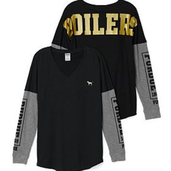 Purdue University Long Sleeve V-neck Tee - PINK - Victoria's Secret