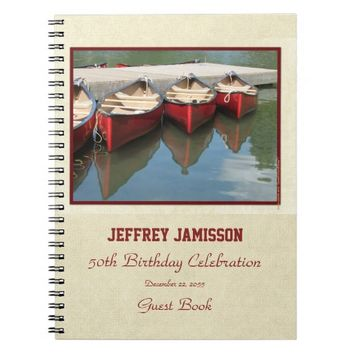 50th Birthday Party Guest Book, Red Canoes Notebook