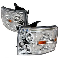 2010 CHEVY SILVERADO CHROME/CLEAR HALO LED PROJECTOR HEADLIGHTS - SPEC-D - (PAIR)