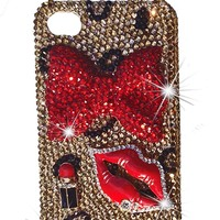 Jersey Bling® LEOPARD BLING 3d Handmade Crystal & Rhinestone Iphone 4, 4s, 5, 5s case/cover (3D Bow Leopard 5/5s)