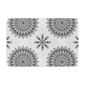 "Julia Grifol ""Black Mandala"" White Black Memory Foam Bath Mat"