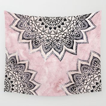 ROSE BOHO NIGHTS MANDALAS Wall Tapestry by Nika