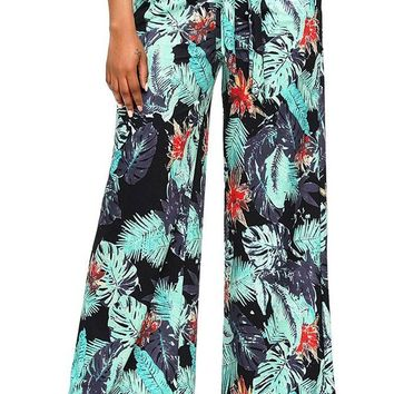 Chic Fashion Tropical Green Print Palazzo Pants