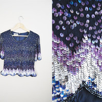 Chasing Waterfalls - Vintage 80s Sequin Trophy Party Top Shirt