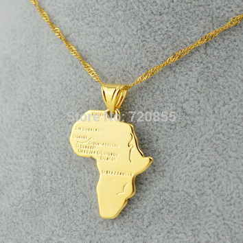 Africa map pendants & necklaces 18K Gold Plated GP Jewelry For Women and Men Unisex,45cm & 60cm chain necklace african like item