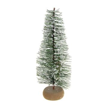 Mini Green Frosted Pine Village Christmas Tree Decoration, 9-Inch