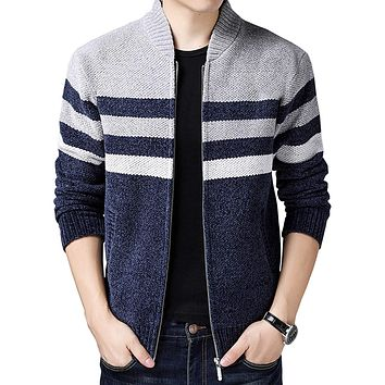 Men's Casual Wide Stripes Zipper Knitted Cardigan Sweater