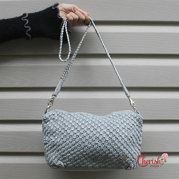 Clubby Baguette/clutch/light grey/smokey grey/Handbag/Casual/woman bag/ shoulder bag/ hobo bag/bucket bag/crochet bag/gifts for her/bag