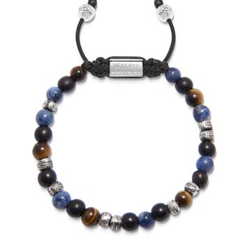 Men's Beaded Bracelet with Brown Tiger Eye, Ebony and Blue Dumortierite with Silver Feather Beads
