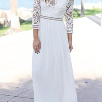 White Patchwork Lace Draped Backless Elegant Cocktail Party Maxi Dress