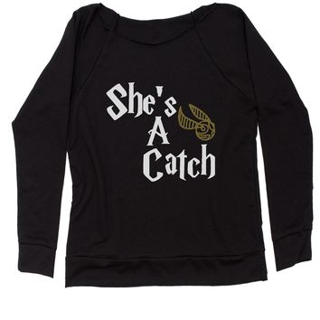 She's A Catch Matching Quidditch Slouchy Off Shoulder Oversized Sweatshirt