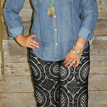 Laced with Love Black Scalloped Crochet Pants with Ivory Underlay