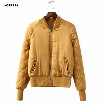 2016 Autumn Winter Bomber Jacket Women Aviator Jacket Army Green Baseball Jackets Chaquetas Mujer Jaqueta Feminina Coat Women