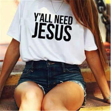 ESBONV White 'Y'ALL NEED JESUS' Letter Print T-Shirt