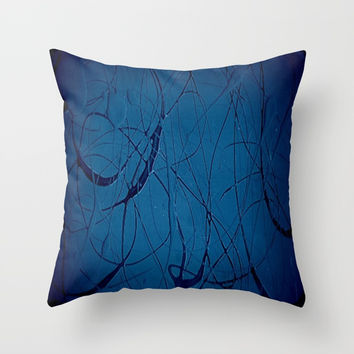 Navy Blue - Jackson Pollock Style Art - Abstract - Expressionism - Modern Throw Pillow by Corbin Henry