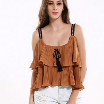 Summer women new solid color fold flounced harness straps strapless blouse small shirt