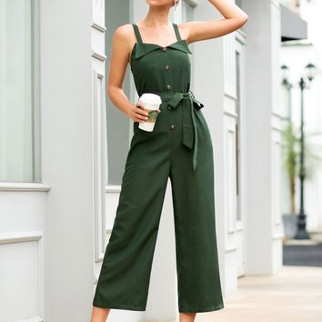 Button Front Self Tie Green Jumpsuit