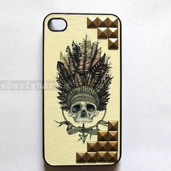 studded iphone case - Indian skull iphone 4 case, rivet iphone 4s case iphone cover skin