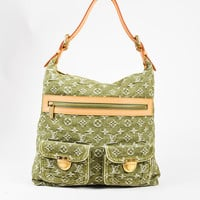 "Louis Vuitton Green & Beige Denim & Leather Monogram ""Baggy"" GM Bag"