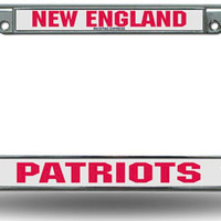 Chrome License Plate Frame - New England Patriots