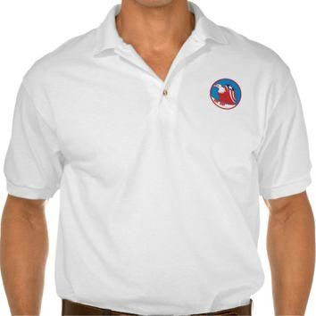 American Eagle Flag On Wing Perching Circle Retro Polo Shirts