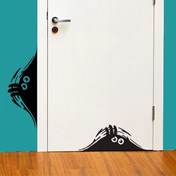 Set of 2 Curious Monsters Vinyl Wall Decal Sticker Art