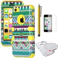 iPhone 5C Case, ULAK Fashion Tribal Pattern Hybrid High Impact Case for iPhone 5C With Soft TPU Shock Absorbing and Hard PC with Screen Protector and Stylus - Rtail Packaging (Green tribal + Yellow Silicone)