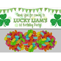 Shamrock 1st Birthday Party Bag Toppers - Green Glitter Shamrock Party Favor Goody Bags - St Patricks Day 1st Birthday - Irish Birthday Kids